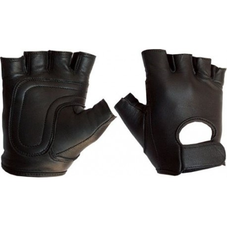 Leather fingerless gloves