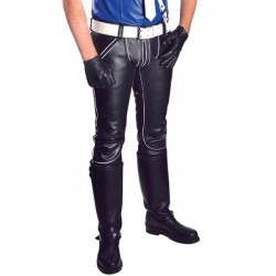 Mister B FXXXer Jeans Black & White pantaloni leather in pelle