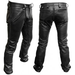 Mister B FXXXer Jeans All Black pantaloni leather in pelle