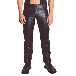 Mister B  Jeans Leather Buttons pantaloni in pelle con bottoni