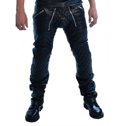 Mister Jeans Padded Sailor Jeans pantaloni leather imbottito in pelle con zip