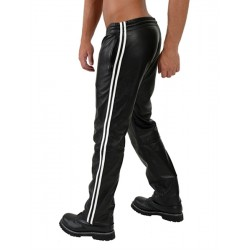 Mister Leather Jogging Pants White Stripes pantaloni sportivi in pelle