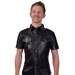 Mister B Police Shirt Short Sleeves camicia leather pelle