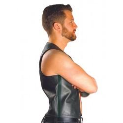 Mister B Muscle Vest Black Strip gilet leather pelle