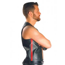 Mister B Leather Muscle Vest Red Striped gilet leather pelle
