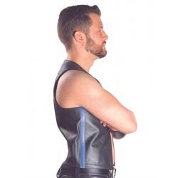 Mister B Muscle Vest  Blue Strip gilet leather pelle
