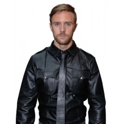Mister B Police Shirt Long Sleeves leather pelle