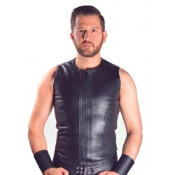 Mister B Vest Sleeveless Zip Black smanicata leather pelle