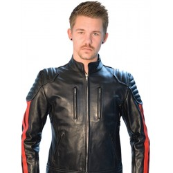 Mister B Biker Jacket Red stripes giubbotto motociclista in leather pelle con righe rosso