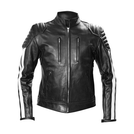 Mister B Biker Jacket White stripes giubbotto motociclista in leather pelle con righe bianco