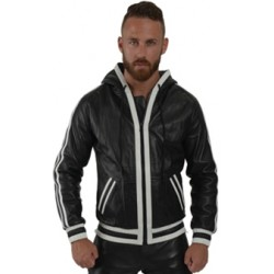 Mister B Leather Hoodie White Stripes giubbotto leather pelle cappuccio righe bianco