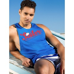 2Eros Anchor Sailor Singlet Tank Top Blue canotta