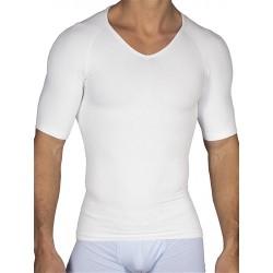 Rounderbum Compression T-Shirt Seamless White t-shirt maglietta collo a V intimo uomo