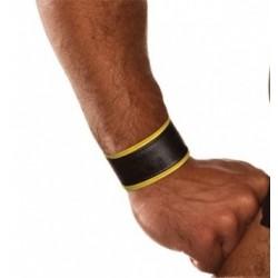 COLT Wrist Strap Band Black and Yellow bracciale leather pelle con velcro