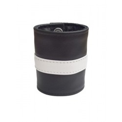 Mister B Leather Wrist Wallet Zip White Striped bracciale in pelle per polso con portafoglio interno con zip