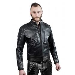 Mister B Leather Biker Jacket Black Stripes giubbotto da motociclista leather pelle