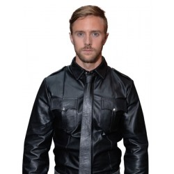Mister B Leather Police Shirt Long Sleeves camicia in pelle maniche lunghe