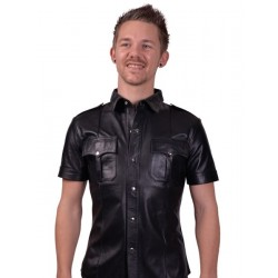 Mister B Leather Police Shirt Short Sleeves camicia in pelle