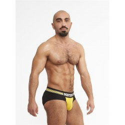 Mister B URBAN Antwerp Jock Brief Yellow slip traforato speciale aperto dietro underwear intimo uomo
