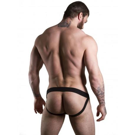 GBGB Finley Metallic Denim Jock Underwear Black White Red Jockstrap sospensorio